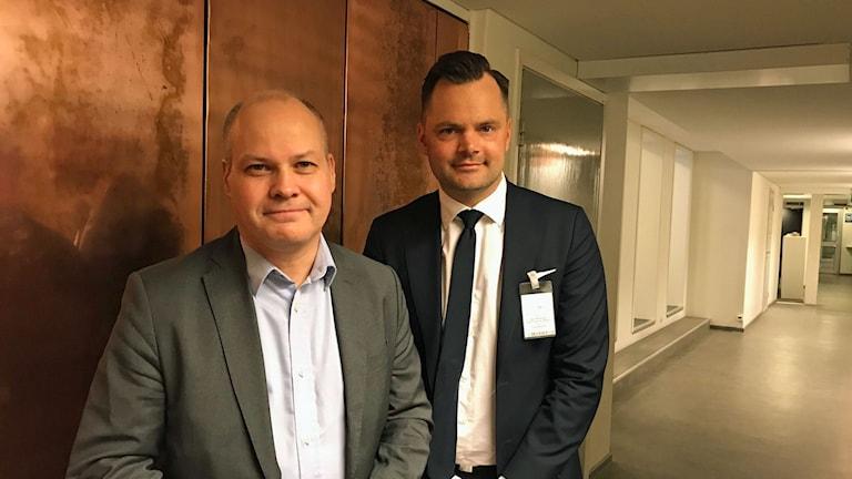 Morgan Johansson, Justitie- och migrationsminister och Adam Marttinen, rättspolitisk talesperson SD.