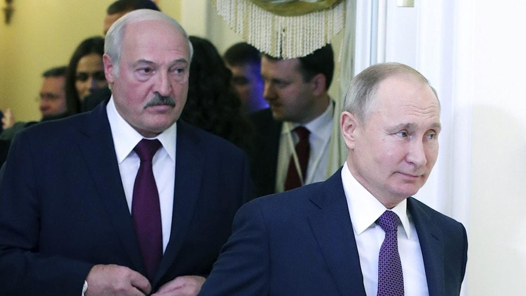 Belarus ledare Alexander Lukasjenko och Rysslands president Vladimir Putin.