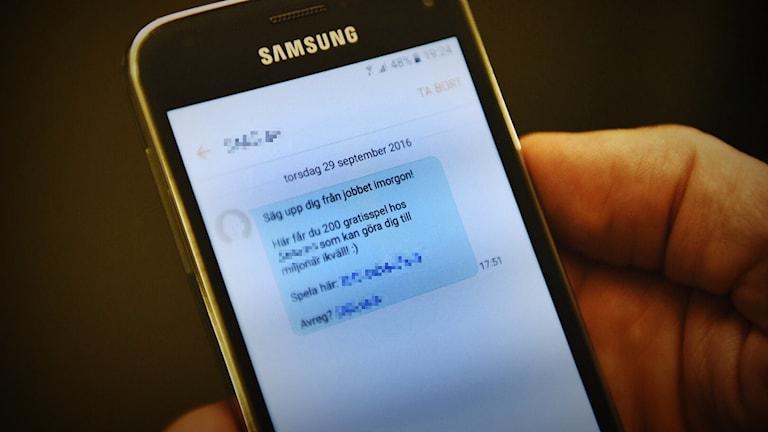 Spelreklam via sms.