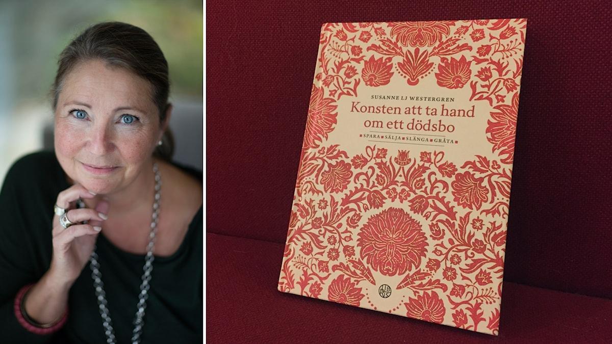 Bildkollage med Susanne Westergren och en bok,