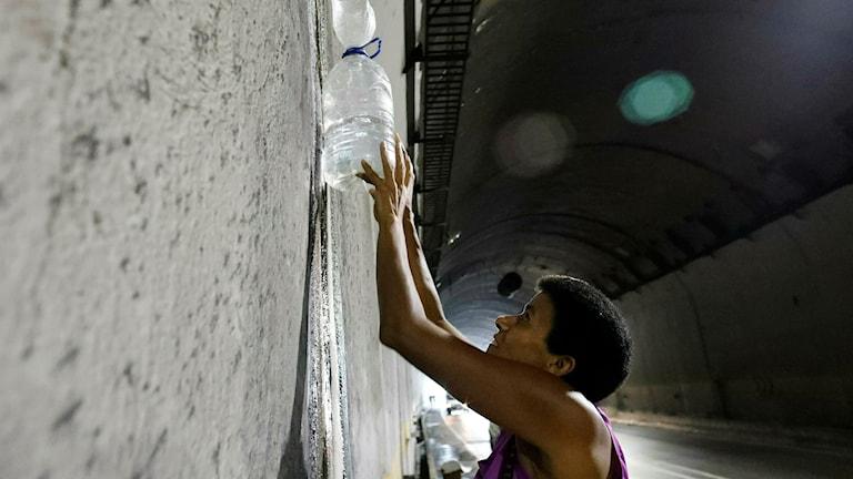 Kvinna samlar vatten.