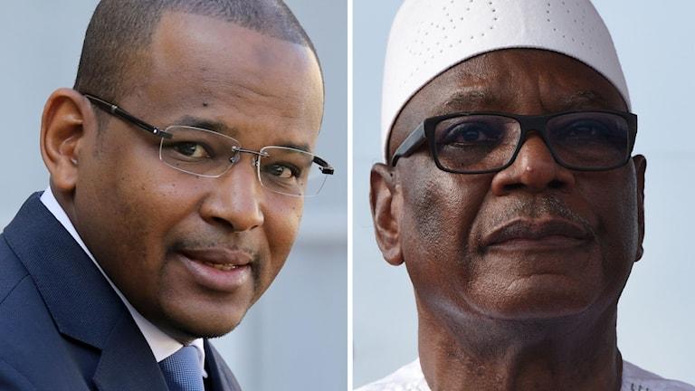 Malis premiärminister Boubou Cisse (vänster) och president Ibrahim Boubacar Keita (höger) fördes igår bort av militärer. Sneare avgick Keita i ett tv-sänt tal.