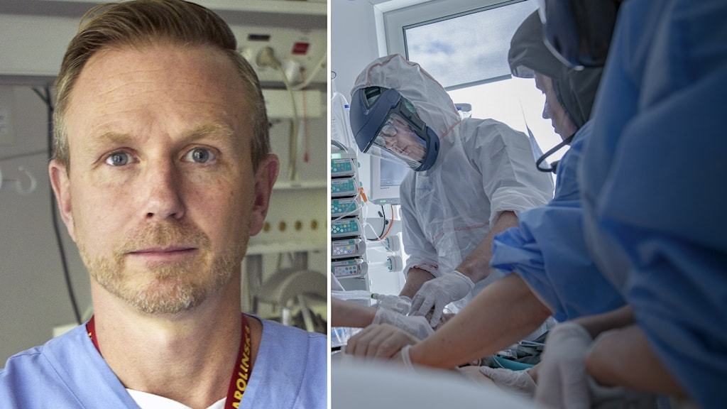 Björn Persson till vänster, till höger vårdpersonal.