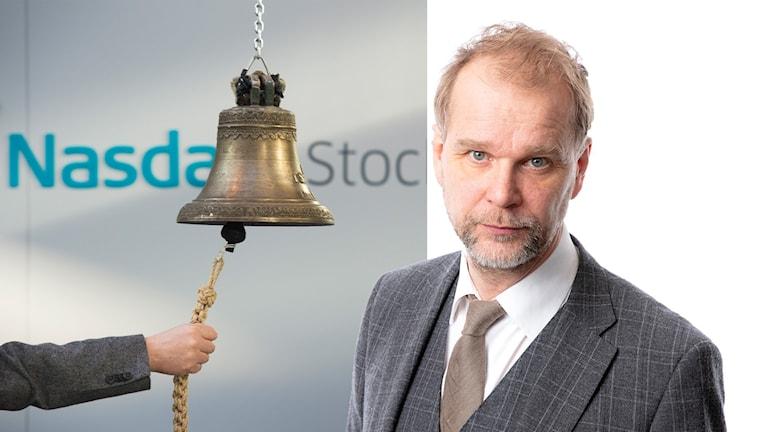 Montage med klockan på börshuset i Stockholm och Ekots ekonomireporter Kristian Åström.