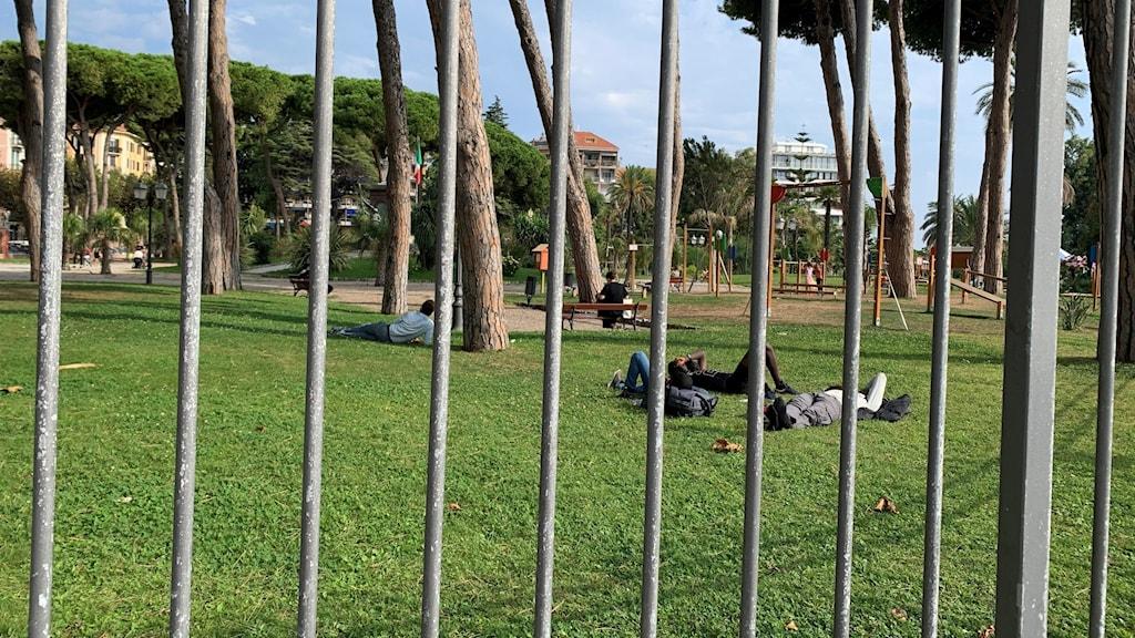 Migranterna vilar i parken i Ventimiglia