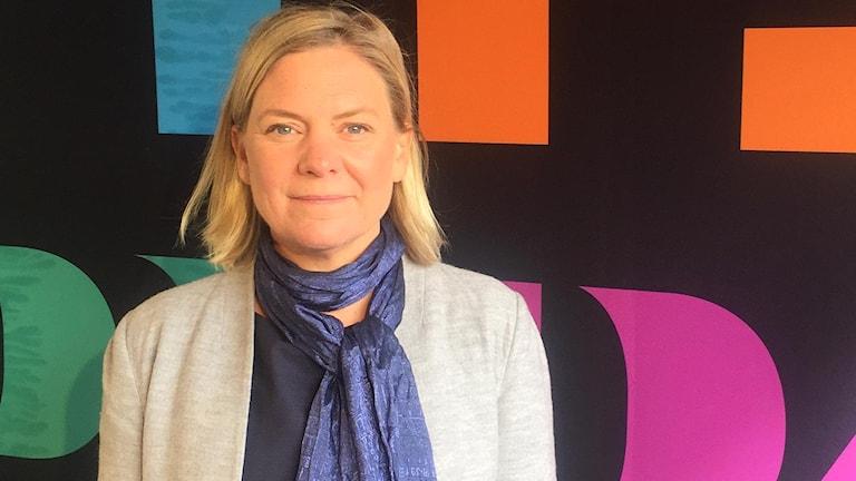 Magdalena Andersson (S) inför intervju med P1-morgon i Almedalen.