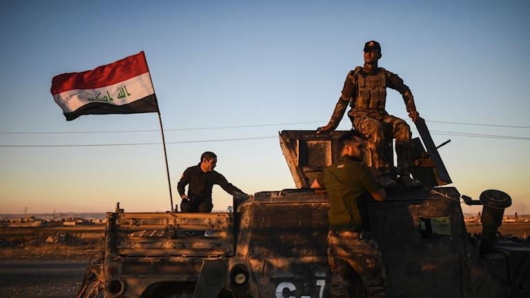 Irakiska styrkor i utkanten av Mosul.