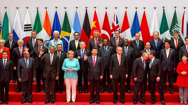 G20-gruppens världsledare på toppmötet i Hangzhou, i provinsen Zhejiang i östra Kina.