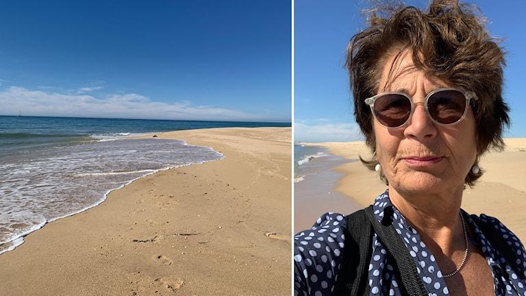 Kvinna i solglasögon och skjorta på sandstrand.