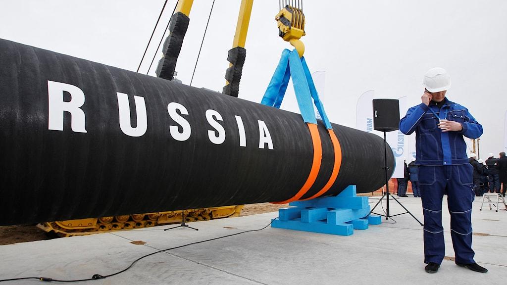 Ryska arbetare inviger bygget av Nord Stream år 2010.