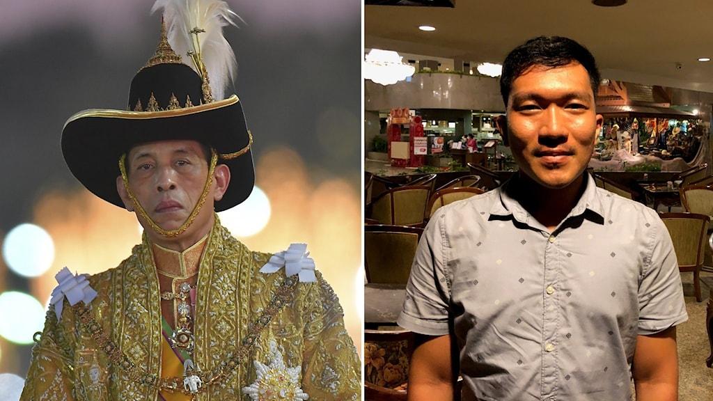 Till vänster: Man i guldig dräkt och hatt. Till höger: man i kortärmad grå skjorta.