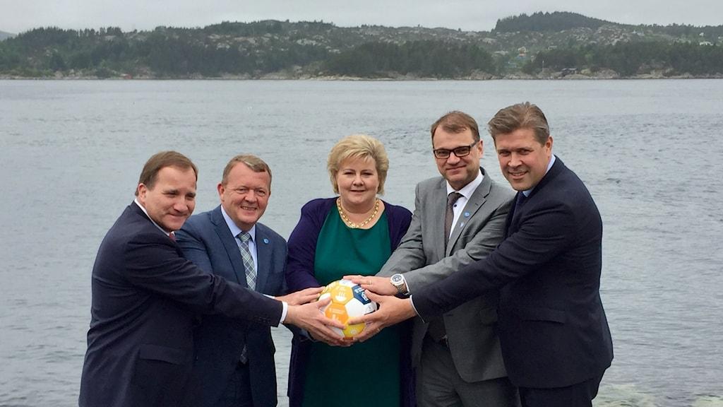 Stefan Löfven (Sv), Lars Løkke Rasmussen (Da), Erna Solberg (No), Juha Sipilä (Fi) och Bjarni Benediktsson (Is)
