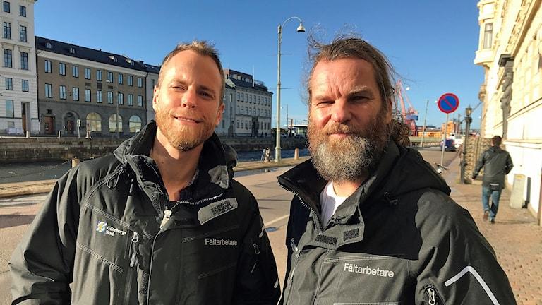 Kim Melin och Magnus Bergström, fältassistenter i Göteborgs city.