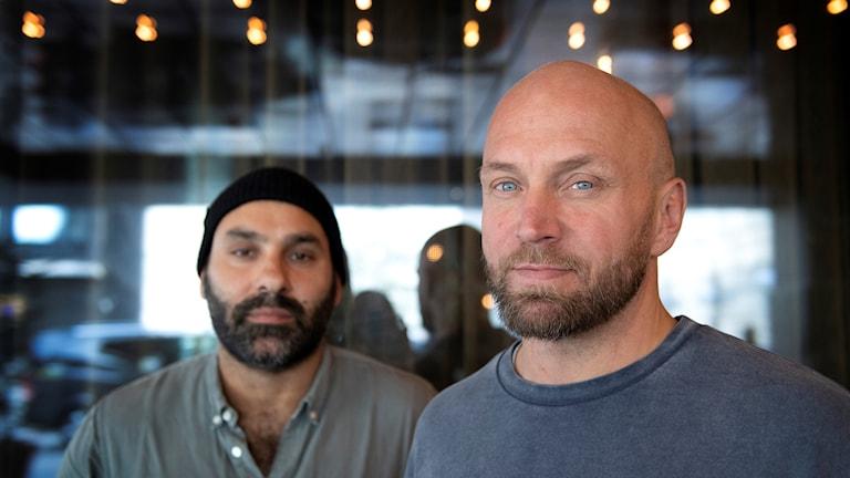 """Skådespelaren Joakim Sällquist och regissören Peter Grönlund som har gjort filmen """"Goliat"""""""