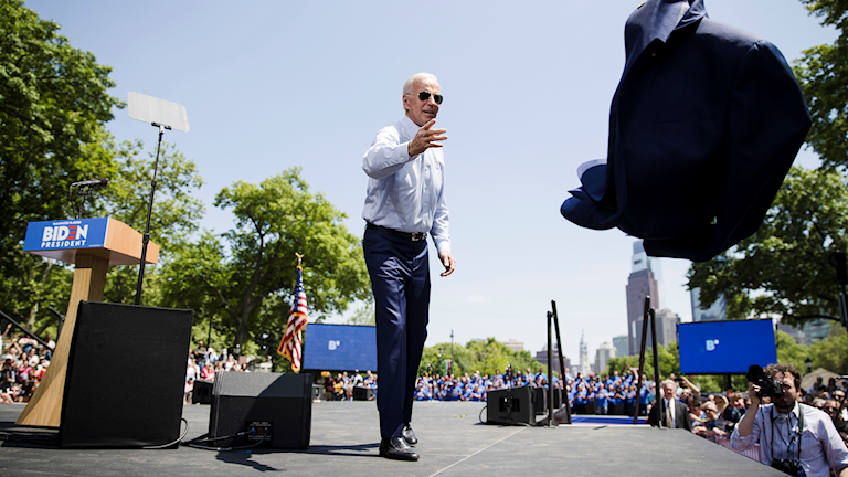 Demokratenas presidentkandidat Joe Biden kampanjar.