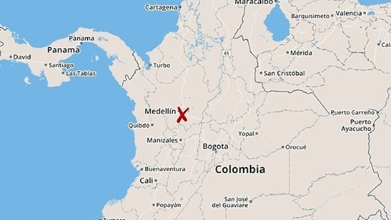 Karta för flygkrasch i Colombia