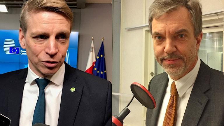 Per Bolund (MP), finansmarknads- och konsumentminister, och Fredrik Daveby, vd intresseorganisationen Motormännen.