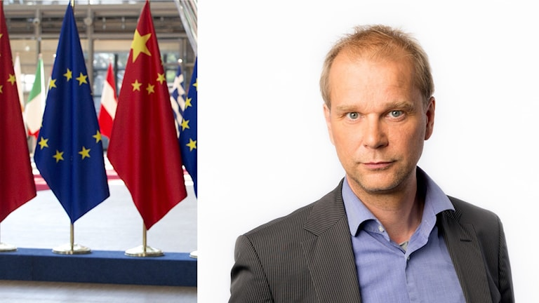 Splitt mellan kinesiska och europeiska flaggor och Kristian Åström.