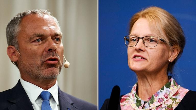 Jan Björlund, partiledare för Liberalerna och Helene Fritzon, migrationsminister (S).