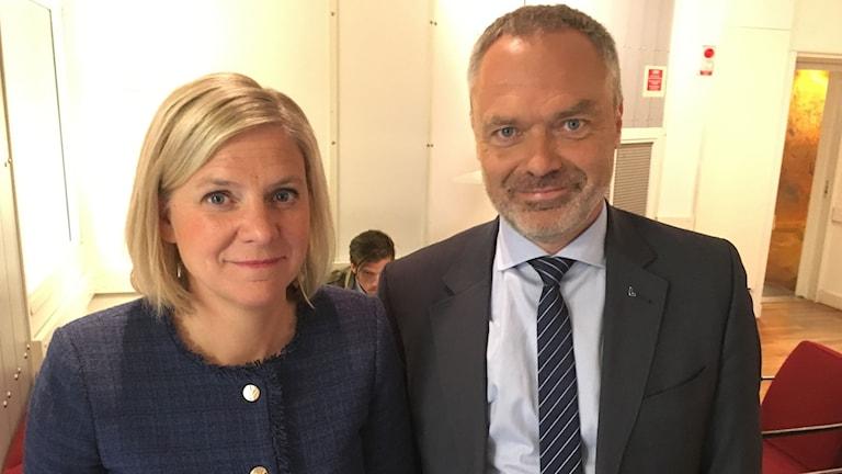 Finansminister Magdalena Andersson och Liberalernas partiledare Jan Björklund
