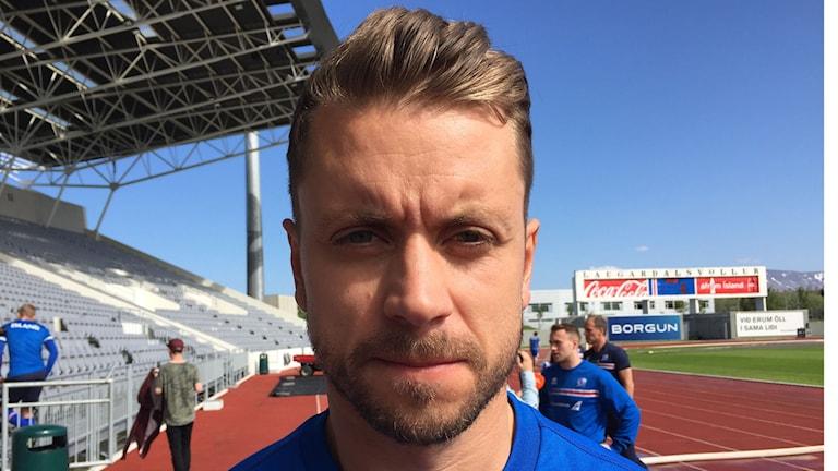 """""""Vår fördel är att vi inte har något att förlora"""", säger isländske landslagsspelaren Kári Árnason."""