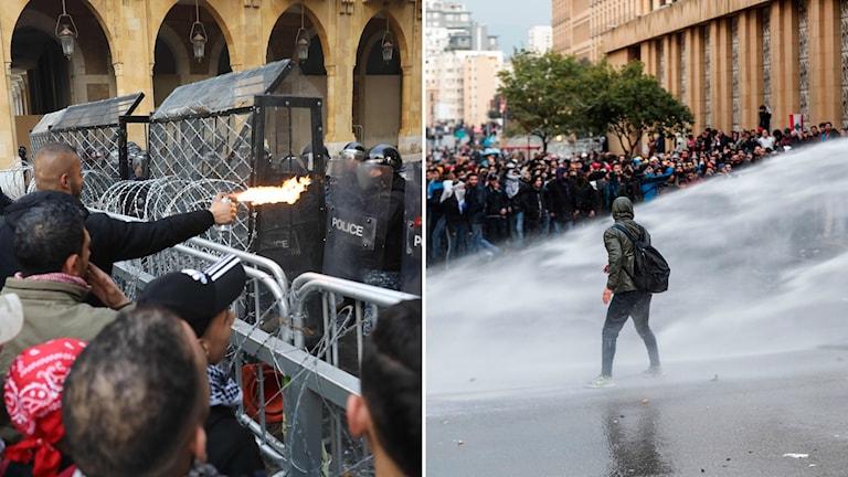 Demonstranter drabbar samman med polis i Libanons huvudstad Beirut.