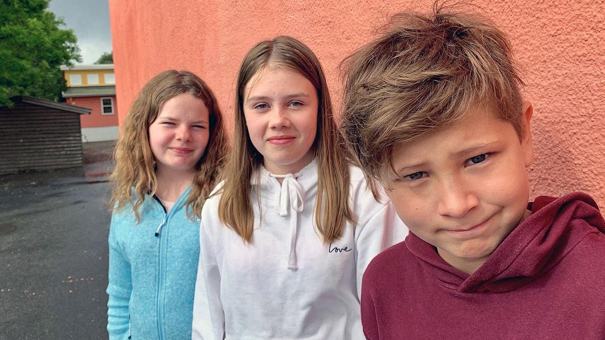 """Man blir inte alltid mätt på sin """"matpakke"""", tycker Inga Renate, Mia och Noah på Hjortsberg skole."""