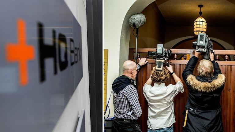 Delad bild: Skylt på HQ bank och fotografer utanför rätten.