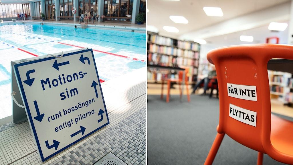 Delad bild: skylt i en simhall och en stol i ett bibliotek.