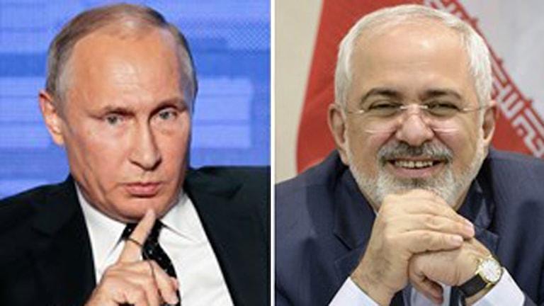 Rysslands president Vladimir Putin och Irans utrikesminister Javad Zarif.