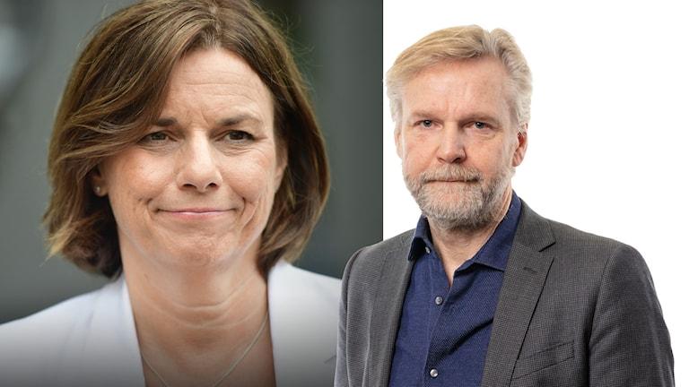 Miljöpartiets avgående språkrör Isabella Lövin och Ekot politiskekommentator Tomas Ramberg.