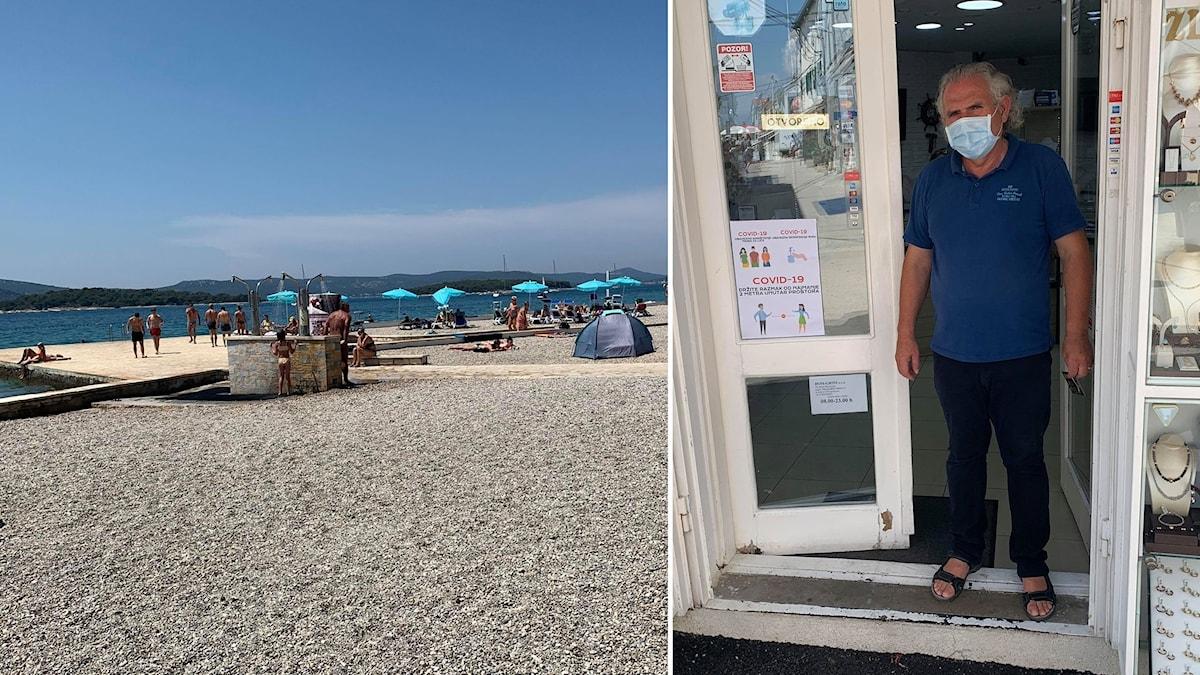 Strand, man med munskydd