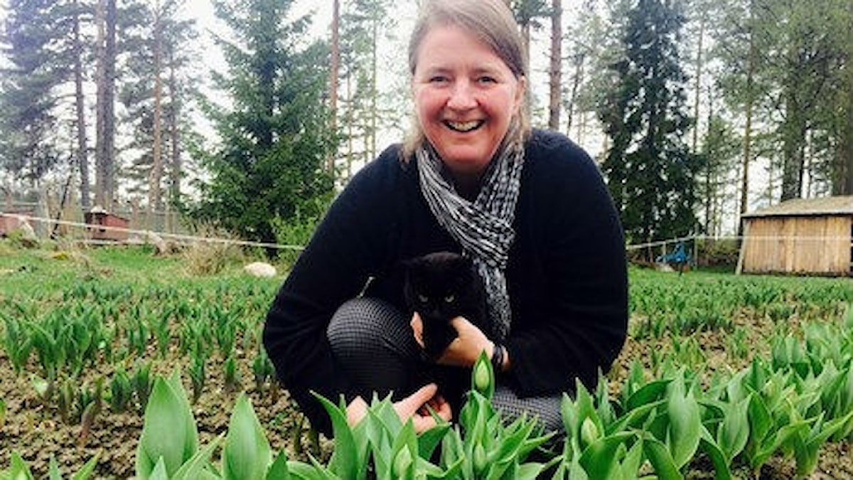 Carolina Visser i tulpanlandet med katt