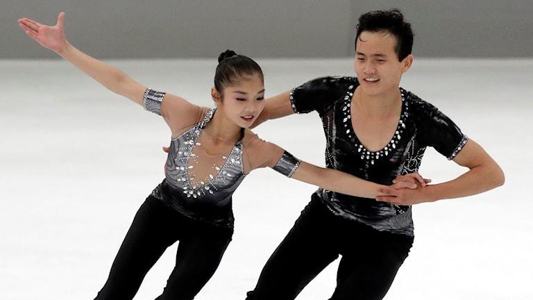 Kommer Nordkoreas Ryom Tae-Ok och Kim Ju-Sik delta i vinter-OS? Arkivbild.