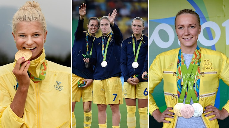 Collage svenska dam-medaljörer. Foto: TT, collage SR
