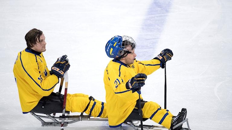 PYEONGCHANG 20180312 Sverige möter Italien i paraishockey under vinter-Paralympics i Pyeongchang i Sydkorea.  Sveriges Christian Hedberg och Marcus Holm efter matchen som slutade 2-0 till Italien. Foto: Jessica Gow / TT /