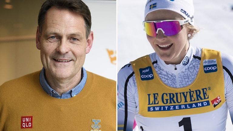 Sveriges Olympiska Kommittés verksamhetschef Peter Reinebo och Stina Nilsson.