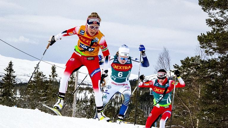 Therese Johaug  (NOR) och Ebba Andersson (SWE) i starten på damernas 34 km fri stil