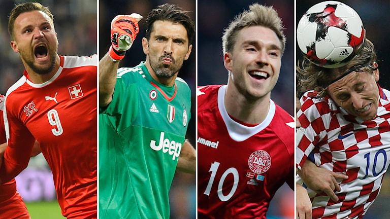 Seferovic, Buffon, Eriksen och Modric kan bli Sveriges motståndare i playoff.
