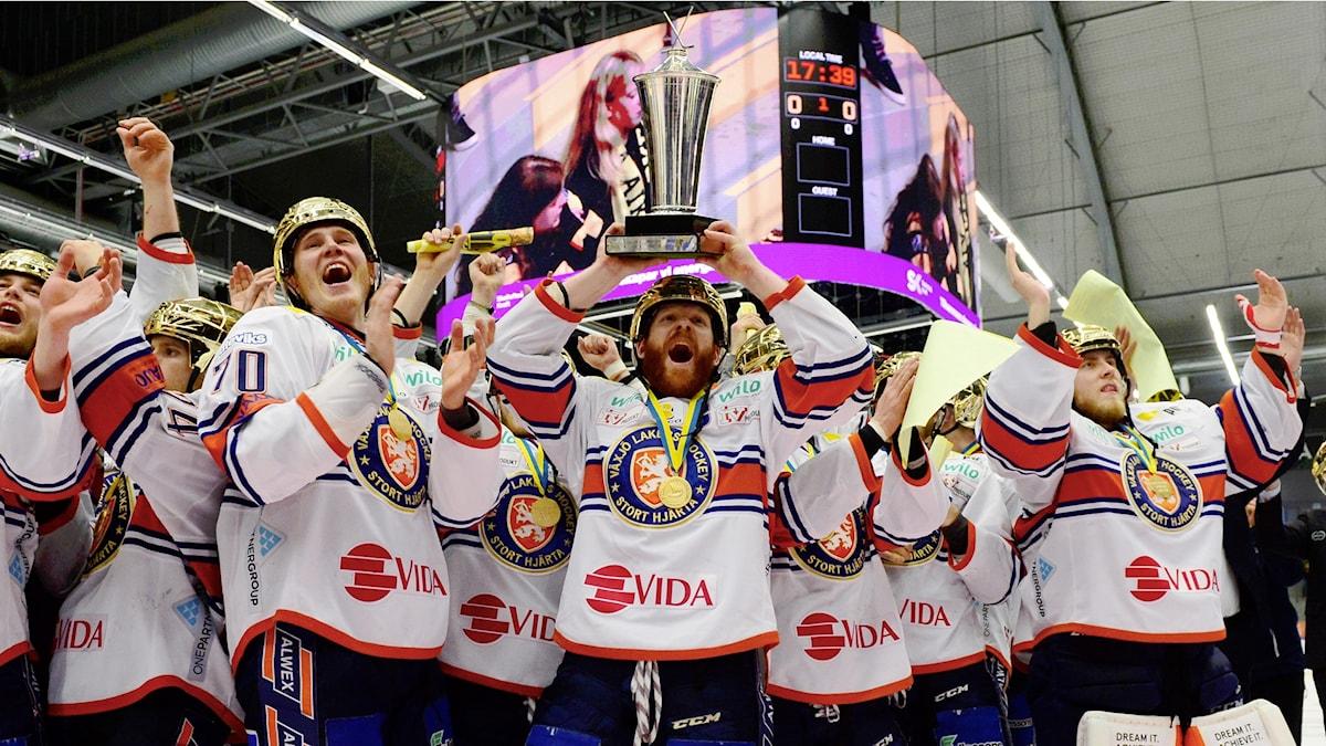 Växjö Lakers firar sitt SM-guld med guldhjälmar och hissad pokal efter söndagens SM-final 4 i bäst av 7 i SHL mellan Skellefteå AIK och Växjö Lakers HC i Skellefteå Kraft Arena. Växjö Lakers vann matchen med 5-0 och det är deras andra SM-guld.