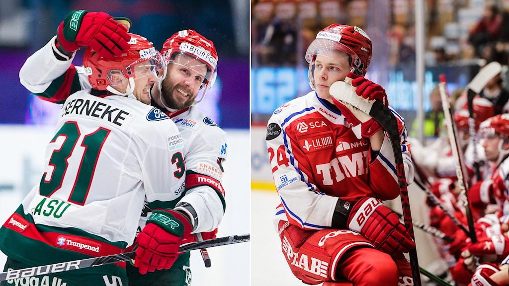 Frölundas Nicklas Lasu jublar och Timrås Erik Walli Walterholm deppar.