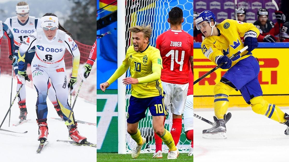 Vilken är Sveriges nationalsport? Foto TT, collage SR
