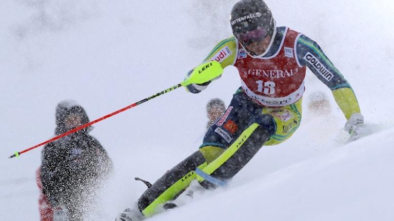 André Myhrer blev trea i herrarnas slalom.