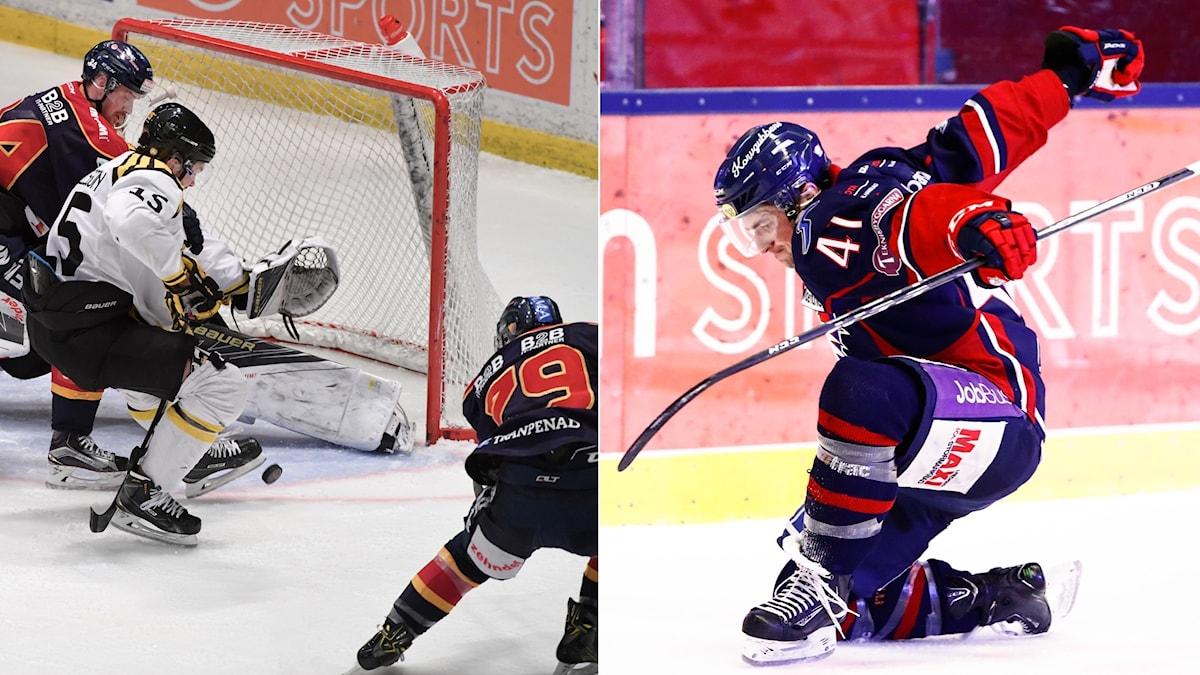 Patrik Lundh gör mål för Djurgården och Broc Little firar sin fullträff mot Luleå.