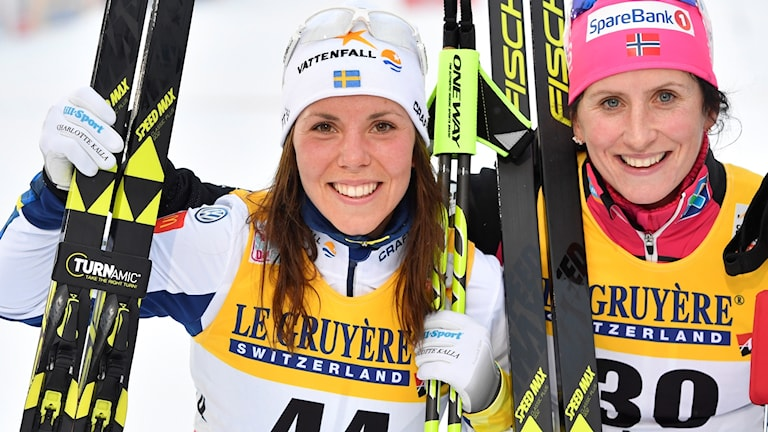 Charlotte Kalla blev tvåa bakom Marit Björgen.