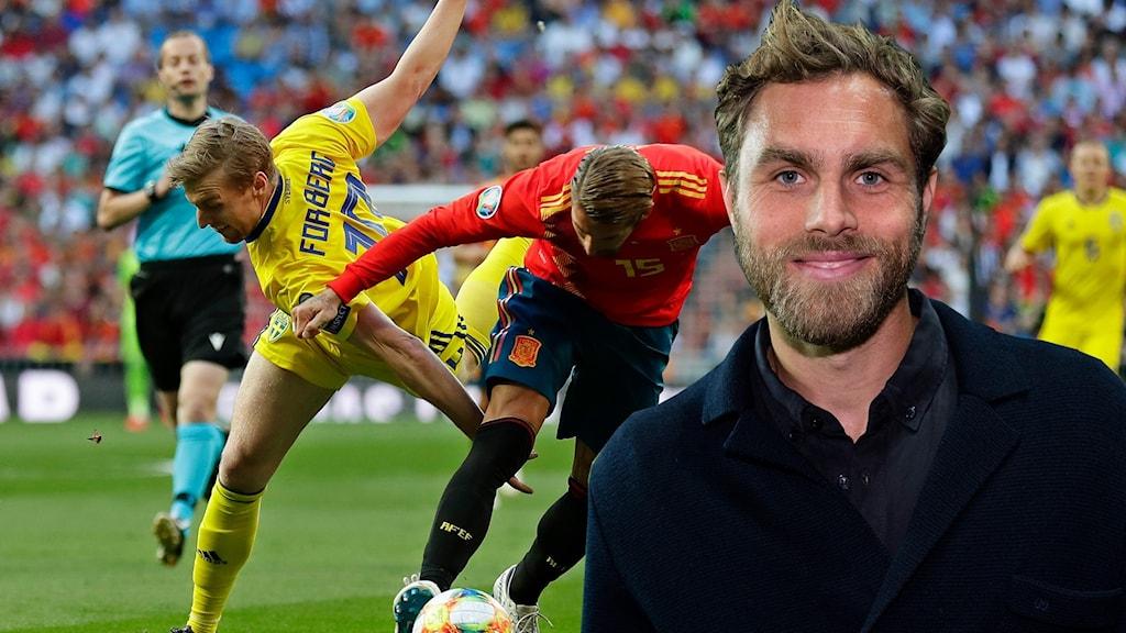 Spanien-Sverige och Johan Elmander. Foto: Manu Fernandez/AP