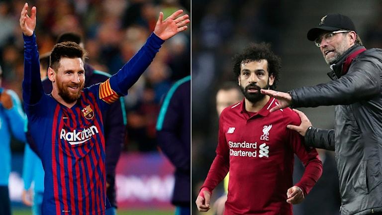 Collage Leo Messi Mohamed Salah och Jürgen Klopp. Foto: TT, collage SR
