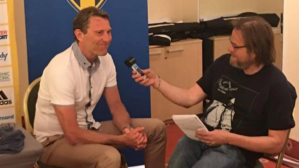 Håkan Ericson intervjuas av Radiosportens Andreas Matz.