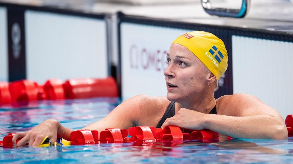 Sara Sjöström under försöket på 100 meter frisim.