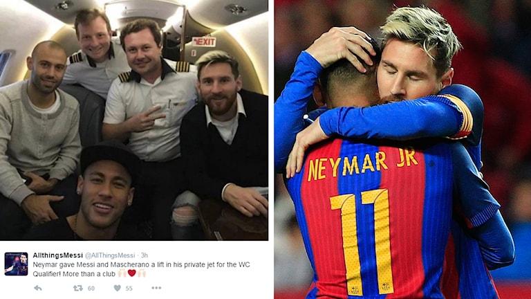 Neymar och Messi goda vänner. Foto: Twitter och TT